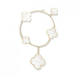 Magic imitation Van Cleef & Arpels Alhambra bracelet yellow gold 5 motifs white mother-of-pearl