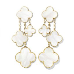 Magic imitation Van Cleef & Arpels Alhambra earrings yellow gold 4 motifs white mother-of-pearl