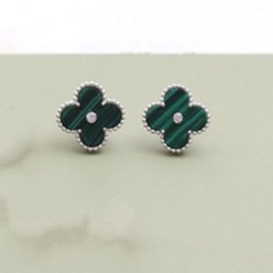 Sweet van cleef fake Alhambra white gold earrings malachite round diamonds
