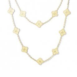 Vintage van cleef imitation Alhambra yellow gold long necklace