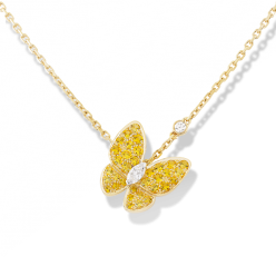 Butterfly van cleef replica yellow gold pendant Round yellow sapphire