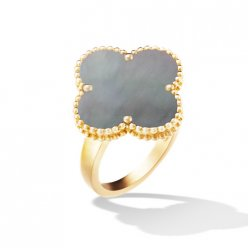 Magic replica Van Cleef & Arpels Alhambra yellow gold Ring gray mother-of-pearl