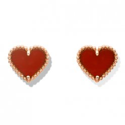 Sweet copy Van Cleef & Arpels Alhambra heart pink gold earrings carnelian