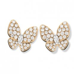 replica Van Cleef & Arpels Butterfly pink gold earstuds round white diamond and marquise-cut diamonds