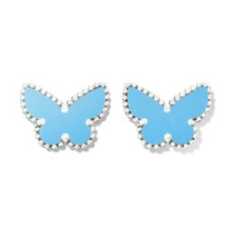 Sweet replica Van Cleef & Arpels Alhambra Butterfly white gold earrings turquoise