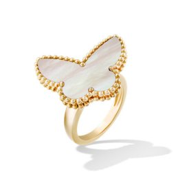 Lucky imitation Van Cleef & Arpels Alhambra Butterfly yellow gold Ring white mother-of-pearl