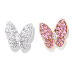 imitation Van Cleef & Arpels Butterfly plating gold earrings round white and pink diamond and marquise-cut diamonds