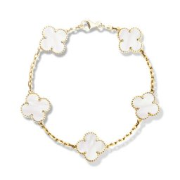 Vintage copy Van Cleef & Arpels Alhambra bracelet yellow gold 5 motifs white mother-of-pearl