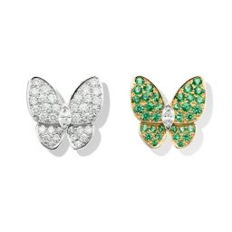 replica Van Cleef & Arpels Butterfly plating gold earrings round tsavorite garnets and marquise-cut diamonds