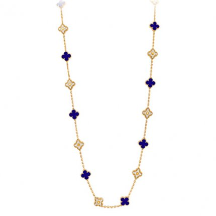 Magic Alhambra fake Van Cleef & Arpels yellow gold necklace Blue Sèvres ceramic and diamond