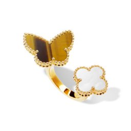 Lucky replica Van Alhambra Butterfly Between the Finger yellow gold Ring white mother-of-pearl and tiger's eye