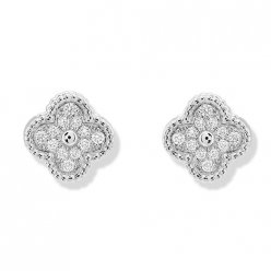 Sweet replica Van Cleef & Arpels Alhambra white gold earrings round diamonds