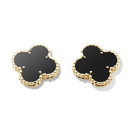 Vintage copy Van Cleef & Arpels Alhambra yellow gold earrings onyx