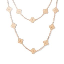 Vintage van cleef fake Alhambra pink gold long necklace