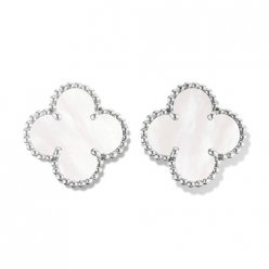 Vintage imitation Van Cleef & Arpels Alhambra white gold earrings white mother-of-pearl