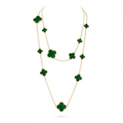 Magic Alhambra replica Van Cleef & Arpels yellow gold long necklace malachite