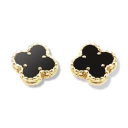 Sweet fake Van Cleef & Arpels Alhambra Clover yellow gold earrings onyx