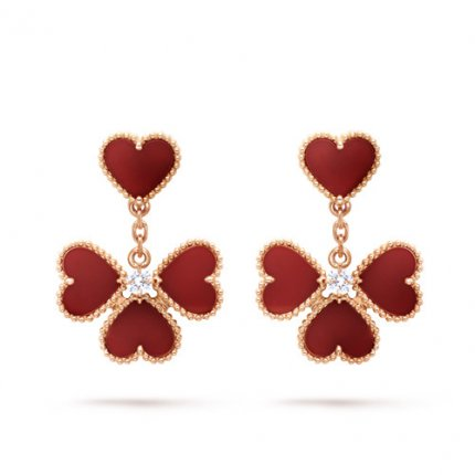 Sweet copy Van Cleef & Arpels Alhambra effeuillage pink gold earrings carnelian round diamond