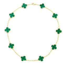 Vintage replica Van Cleef & Arpels Alhambra necklace yellow gold 10 motifs malachite