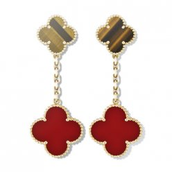 Magic replica Van Cleef & Arpels Alhambra earstuds yellow gold 2 motifs tiger's eye carnelian