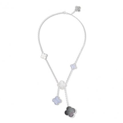 Magic replica Van Cleef & Arpels Alhambra necklace white gold gray mother-of-pearl chalcedony
