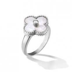 Vintage copy Van Cleef & Arpels Alhambra white gold Ring white mother-of-pearl with round diamond