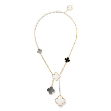 Magic replica Van Cleef & Arpels Alhambra necklace yellow gold onyx white and gray mother-of-pearl