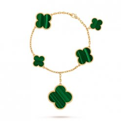 Magic van cleef replica Alhambra yellow gold bracelet malachite