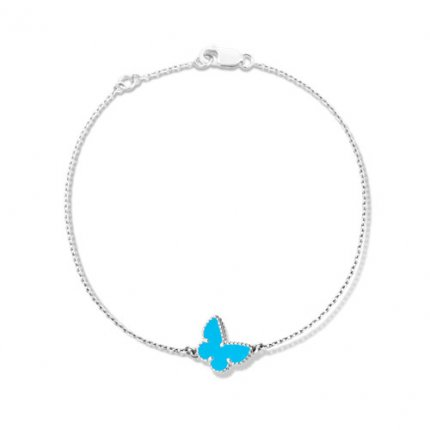 Sweet replica Van Cleef & Arpels Alhambra butterfly white gold bracelet turquoise