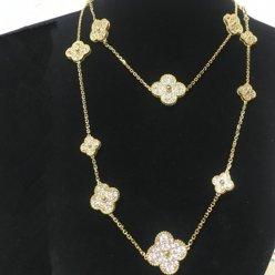 Magic van cleef replica Alhambra yellow gold long necklace round diamonds