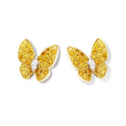 replica Van Cleef & Arpels Butterfly yellow gold earstuds round yellow sapphires and marquise-cut diamonds