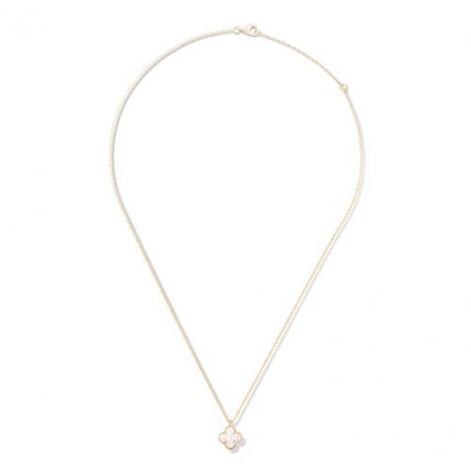 Sweet fake Van Cleef & Arpels Alhambra yellow gold Clover pendant white mother-of-pearl