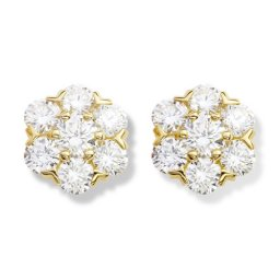 Fleurette replica Van Cleef & Arpels earrings yellow gold large model with round diamonds