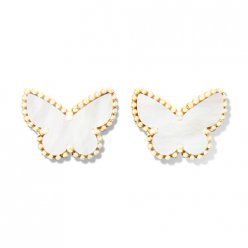 Sweet fake Van Cleef & Arpels Alhambra Butterfly yellow gold earrings white and gray mother-of-pearl