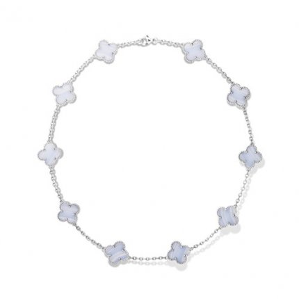 Vintage copy Van Cleef & Arpels Alhambra necklace white gold 10 motifs chalcedony