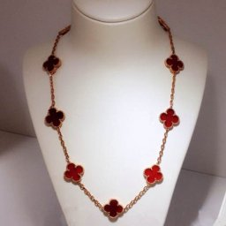 Vintage van cleef fake Alhambra pink gold necklace carnelian