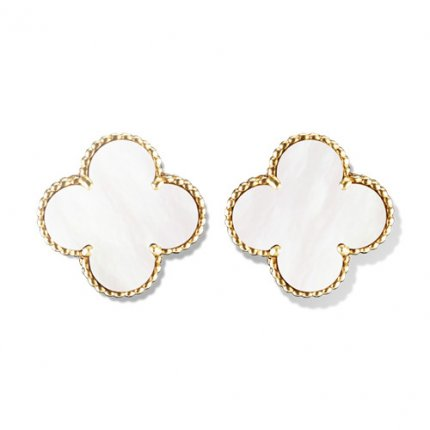 Magic copy Van Cleef & Arpels Alhambra earrings yellow gold white mother-of-pearl