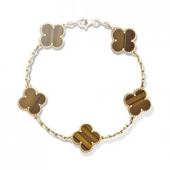 Vintage replica Van Cleef & Arpels Alhambra bracelet yellow gold 5 motifs tiger's eye