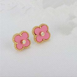 Sweet van cleef replica Alhambra yellow gold earrings pink mother-of-pearl
