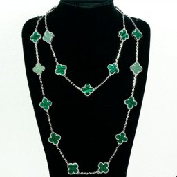 Vintage van cleef replica Alhambra white gold long necklace malachite