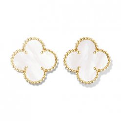 Vintage replica Van Cleef & Arpels Alhambra yellow gold earrings white mother-of-pearl