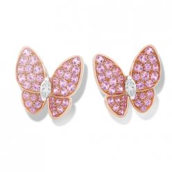 fake Van Cleef & Arpels Butterfly pink gold earstuds round pink sapphires and marquise-cut diamonds