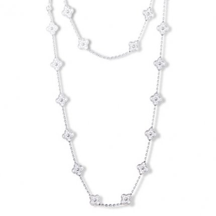 Vintage replica Van Cleef & Arpels Alhambra long necklace white gold 20 motifs round diamonds