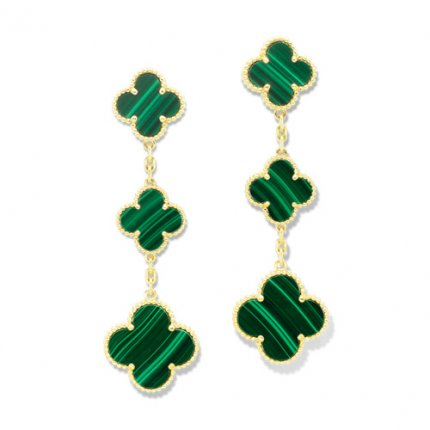 Magic replica Van Cleef & Arpels Alhambra earrings yellow gold 3 motifs malachite