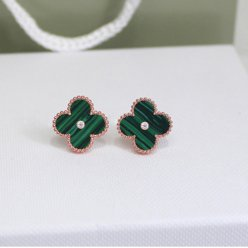 Sweet van cleef replica Alhambra pink gold earrings malachite round diamonds