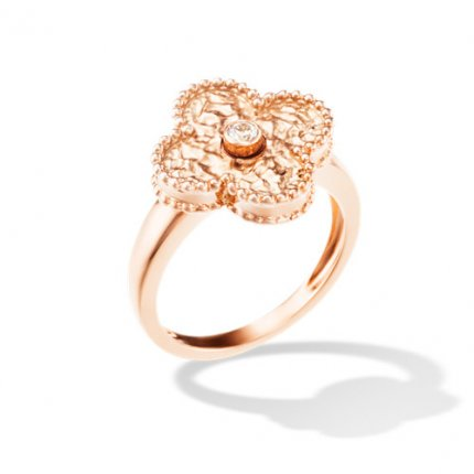 Vintage replica Van Cleef & Arpels Alhambra pink gold Ring 1 round diamond