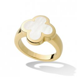 Pure replica Van Cleef & Arpels Alhambra yellow gold Ring white mother-of-pearl