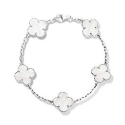 Vintage imitation Van Cleef & Arpels Alhambra bracelet white gold 5 motifs white mother-of-pearl