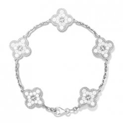 Vintage copy Van Cleef & Arpels Alhambra white gold bracelet 5 motifs round diamonds