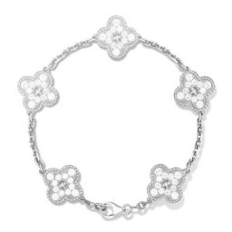 Vintage copie Van Cleef & Arpels Alhambra or blanc bracelet 5 motifs diamants ronds